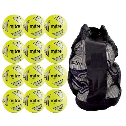 Mitre Impel Training Ball 12 Balls and Bag - Yellow/Silver/Black